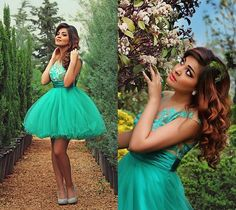Short Green Ball Gown Prom Dresses 2015 Crew