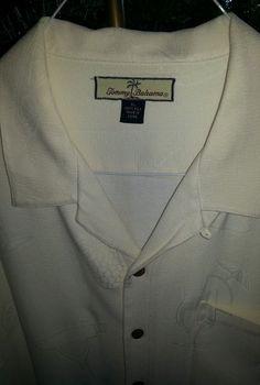 Tommy Bahama Mens Ivory Tropical Shirt XL Pineapples Hawaiian Imprints Silk #TommyBahama #Hawaiian
