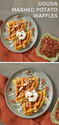 Upcycle leftover mashed potatoes into savory, gouda waffles. The toppings are reminiscent of loaded baked potatoes. Side with eggs and fresh fruit to round out the meal. Sweet Potato Waffles, Paleo Sweet Potato, Savory Waffles, Brunch Recipes, Breakfast Recipes, Waffle Maker Recipes, No Bake Snacks, Nutritious Snacks, Baked Potatoes
