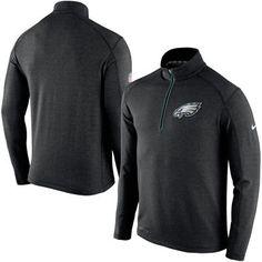 Men's Nike Black Philadelphia Eagles Game Day Half-Zip Knit Performance Tri-Blend Jacket