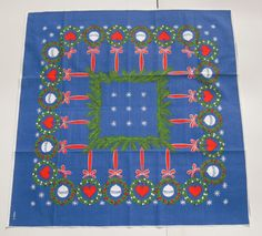 Vintage Swedish Tablecloth Blue Christmas w by unclebunkstrunk