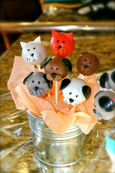 Cake pops: tootsie roll ears, m&m cheeks No Bake Cake Pops, Cake Push Pops, Animal Cake Pops, Animal Cakes, Drop Cookies, Cupcake Cookies, Cake Pop Designs, Cookie Pops, Oreo Pops