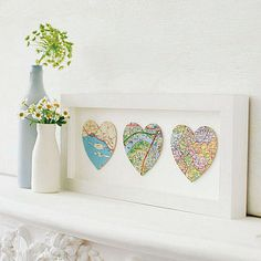 Map heart trio. Cute wedding idea. Where you met, where you got engaged, where you married.