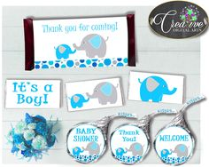 This is Baby shower boy C.... Go see it here http://snoopy-online.myshopify.com/products/baby-shower-boy-candy-bar-wrappers-and-labels-printable-in-aqua-blue-and-gray-color-elephant-theme-digital-files-instant-download-ebl01