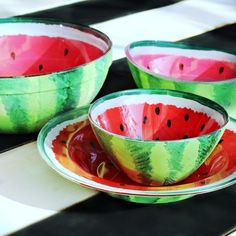 Turn basic glass bowls into fun watermelon bowls for your summer table! Because the paint is on the outside of the bowls, these dishes are food AND dishwasher s…