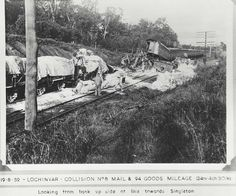 Derailment at Lochinvar, 1959 Derailment at Lochinvar - Collision between the No.8 Mail train and the No.94 Goods train Dated: 19/8/1959