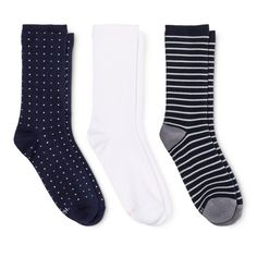 Hanes Premium Women's Crew Dot Socks 3-Pack - Navy (Blue) 5-9 Navy Socks, Navy Blue, Fashion Outfits, Shopping, Clothes, Target, Happy, Products, Outfits