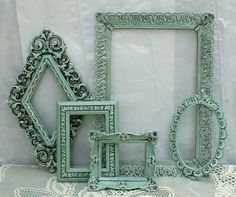 Sold. Vintage Mint Green Shabby Cottage Chic French Romantic Frame Set