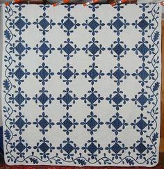 1860's Indigo & White Fleur-de-Lis Antique Quilt ~Oak Leaf Border