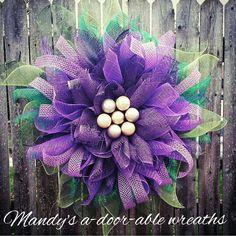Purple Mesh Flower Wreath