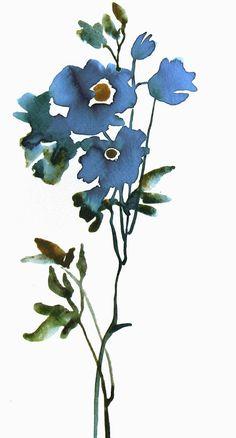 Blue Flower  Minimalist Art Watercolor Original by FluidColors, $28.00: