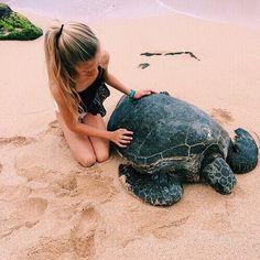 Turtle - beach - girl - life - animals