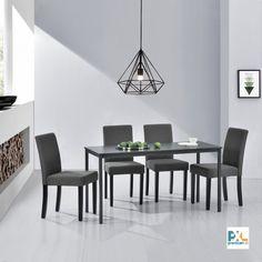 Elegantný stôl AADT-0204 v minimalistickom štýle s pevnými a stabilnými nohami a kvalitným spracovaním zabezpečuje pohodlné miesto pre 4 osoby. 4 pevné elegantné stoličky majú pohodlné čalúnené sedadlo s textilným poťahom. Masívne drevené nohy a rám dodávajú stoličke pevnosť a stabilitu. #premiumXL.sk #premiumXL #jedálenské zostavy #dizajn #štýl #bývanie #stolovanie