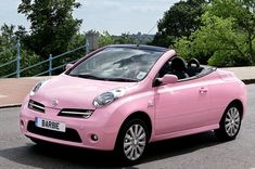 Girly Cars Every Women Will Love!: Cool Renault Pink Convertible – Girly Cars for Female Drivers! Love Pink Cars ♥ It's the dream car for every girl ALL THINGS PINK! Chevrolet Spark, Nissan Micra Cc, Nissan Micra Cabrio, My Dream Car, Dream Cars, Cute Pink, Pretty In Pink, Perfect Pink, Nissan March