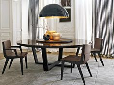 XILOS | Marble table Round marble table with Lazy Susan by Maxalto