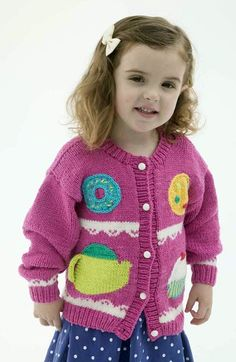 "Free knitting pattern for Sweets Cardigan for children To Fit Chest: 27-33"" with motifs fit for a tea party with cookie, teapot, donut, cupcake. affiliate link tba"