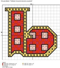 alfabeto minuscolo decorato a quadretti B