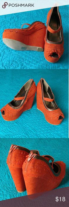 Funky orange fabric platform wedge shoes! New without tags, never worn, orange with gold trim.  Zipper up backs.  Size 7.  Open toe.  Also have size 8 on Poshmark. David isaac Shoes Platforms
