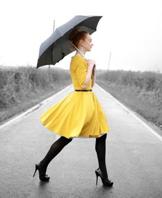 yellow dress & umbrella @foreveramber