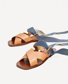 LEATHER SLIDES WITH INTERCHANGEABLE RIBBONS-View All-SHOES-WOMAN-SALE | ZARA United States