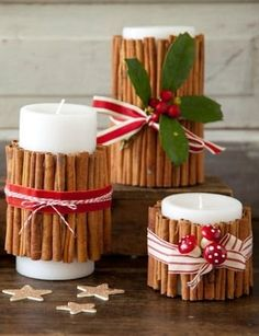 How To Decorate for Christmas With Only a Trip to the Grocery Store: Scented candles are a sure-fire way to get your home smelling like the holidays. But sometimes it's more fun to make your own, like these Paula Deen DIY ones that the J. Sorella sisters love. All you have to do is grab some cinnamon sticks from the spice aisle, tie them around a votive or pillar candle, and you have an instant Christmas-inspired fragrance.