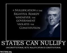 Nullify - states rights over federal. It's why we fought the Civil War, remember! REPIN  THE  BEST  STUFF.