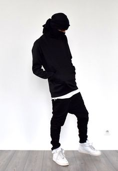 Follow guccim0ney.tumblr.com for more dope fashion  Neoprene Sweatshirt: ADYN Whiteout Zip Tee: ADYN Black Zespy Pant: I Love Ugly