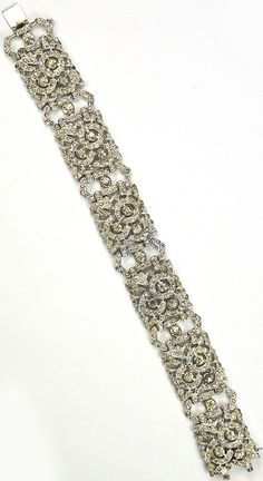 KTF Trifari 'Alfred Philippe' Pave Six Link Flower Pattern Bracelet