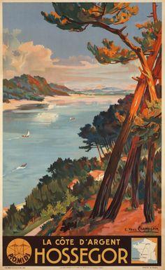 Hossegor, la  Côte d'Or, P.O. Midi . Vintage plage poster atlantique . #essenzadiriviera.com