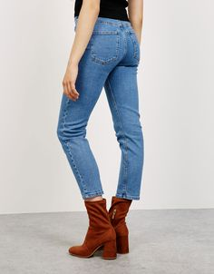 Kısa paça cigarette jeans - Denim - Bershka Turkey