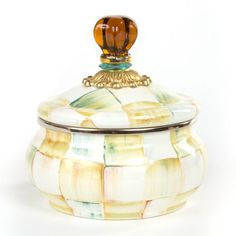 Mackenzie Childs Pot Canister in Parchment Check