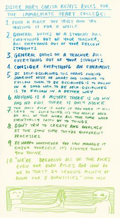 Corita Kent Rules School rules