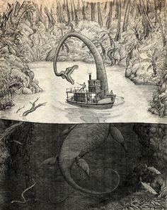 Dinosaur Drawing, Dinosaur Art, Fantasy Creatures, Mythical Creatures, Lake Monsters, Beast Creature, Loch Ness Monster, Jurassic Park World, Prehistoric Creatures