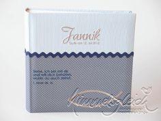 Fotoalbum & Gästebuch - Taufalbum XL grau hellblau mit Spruch Tauffisch - ein Designerstück von himmelsgleich bei DaWanda