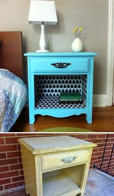 Revive an old bedside table with wall decals! This DIY tutorial is so fun. Refurbished Furniture, Repurposed Furniture, Painted Furniture, Furniture Refinishing, Vintage Furniture, Plywood Furniture, Diy Furniture Repurpose, Diy Old Furniture Makeover, Timber Furniture