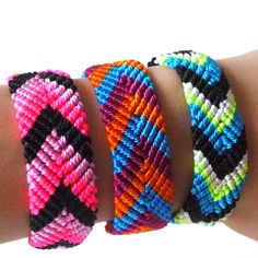 Friendship Bracelets Wide Neon Tribal Style SET OF 5 - by sweetllamasupplies, only 15.00
