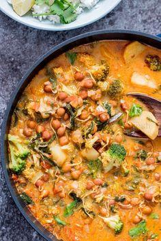 Chickpeas Broccoli Spinach Potato Curry in Coconut Milk