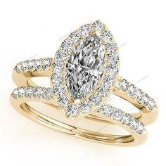 14K Yellow Gold finish VVS1 Diamond Round Cut Engagement Wedding Bridal Ring Set