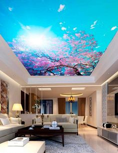 Cherry Blossom Ceiling Sticker Ceiling decor Blooming Sakura Branch Photo Paper Ceiling Mural Self Adhesive Exclusive Design Photo Wallpaper