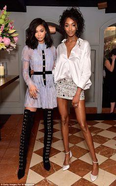 It girls: Models Chanel Iman (L) and Jourdan Dunn dazzled in a leggy display...