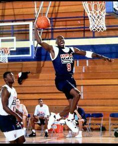 88e46e3cec4 Michael Jordan, Dream Team 1992 Summer Olympics, Barcelona, Spain, practice  game,
