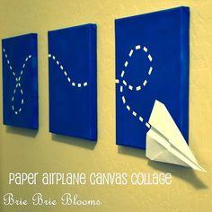 DIY paper airplane wall art tutorial byBrie Brie Blooms.