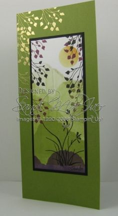 handmade card using Asian Artistry stamp set ... tall and narrow ...  brayered mountains ... beautiful serenity ... Stampin' Up!