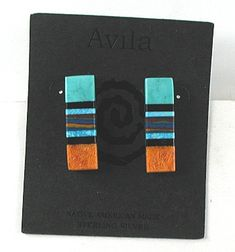 New Old Stock Block Inlay Post earrings E518 Vintage Earrings, Vintage Jewelry, Matrix Color, Native American Earrings, American Indian Jewelry, Native American Indians, American Made, Shades Of Blue, Vintage Shops