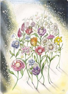 Bouquet card from Fairy Tale Lenormand. This magical artwork is by the incomparable Lisa Hunt.