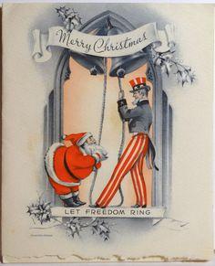 1940's christmas uncle sam santa claus patriotic
