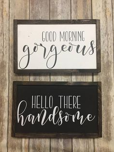 """This farmhouse sign is crafted from pine wood (thickness varies between 1/2""""-1""""). This duo of signs are made in contrasting colors, and are a perfect match. This is for the His & Hers, see other listings for Hers & Hers and His & His. All of the signs are lightly sanded, hand"""