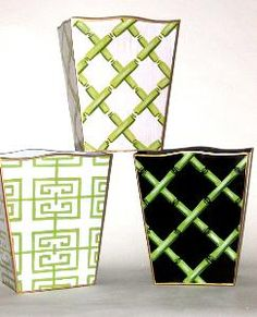Pick your favorite design from these stylish wastebaskets.  Product in photo is from www.wellappointedhouse.com