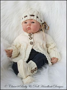 """Jacket, Beanie & Boots Pattern 16-22"""" doll/0-3m baby-"""