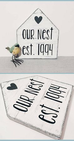 Great little our nest farmhouse sign! Would be great for a gallery wall! C Rustic Wood Signs Farmhouse Gallery Great Nest Sign Wall Diy Wood Signs, Rustic Wood Signs, Rustic Decor, Farmhouse Decor, Farmhouse Signs, Rustic Style, Country Decor, Country Signs, Home Wood Sign